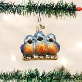 Kerstbal Vogels op rij