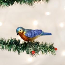 Kerstbal Blauwkeelsialia Vogel op clip