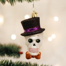 Kerstbal Skull met hoed