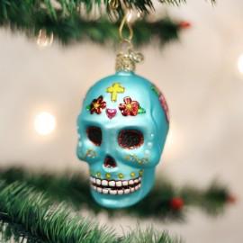 Kerstbal  Sugar Skull Turkoois