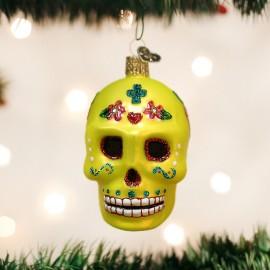 Kerstbal Sugar Skull Geel