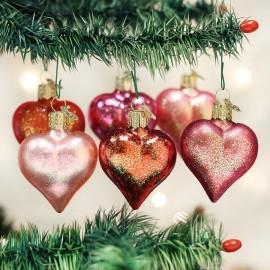 Set van 6  Harten Kerstballen