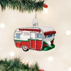 Kerstbal Retro Caravan Rood