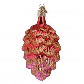 Kerstbal Dennenappel rood-roze