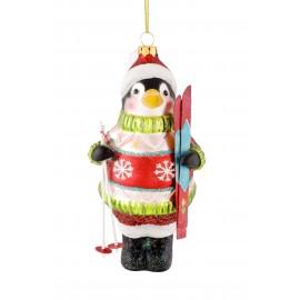 Kerstbal Pinguin Skier