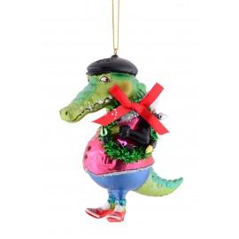 Kerstbal Krokodil met krans