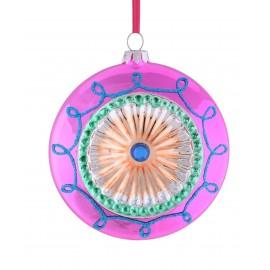 Kerstbal Disc roze