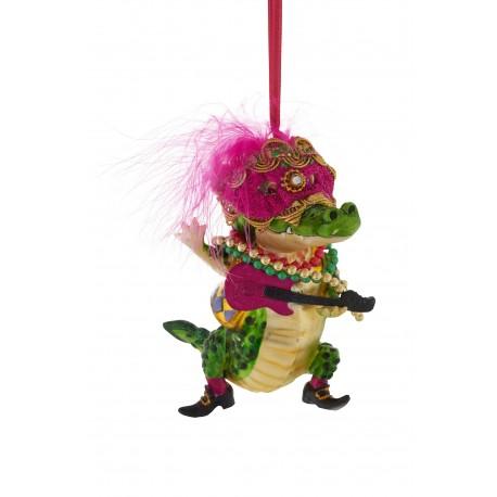 Kerstbal Krokodil met Gitaar