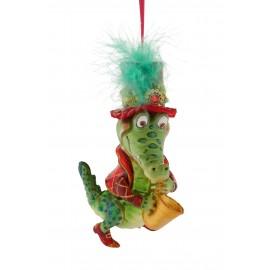 Kerstbal Krokodil met Saxaphone