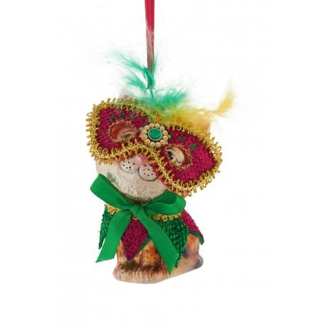 Kerstbal Kat met Masker