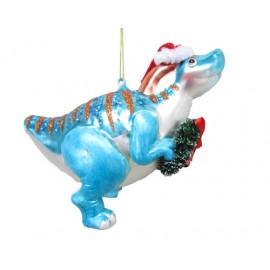 Kerstbal Dinosaurus met krans