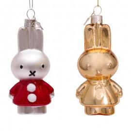 Set van 2 Nijntje Kerstballen kerstjurk goud