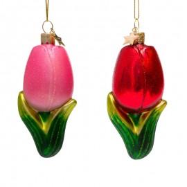Set van 2 Kerstballen Tulpen roze rood