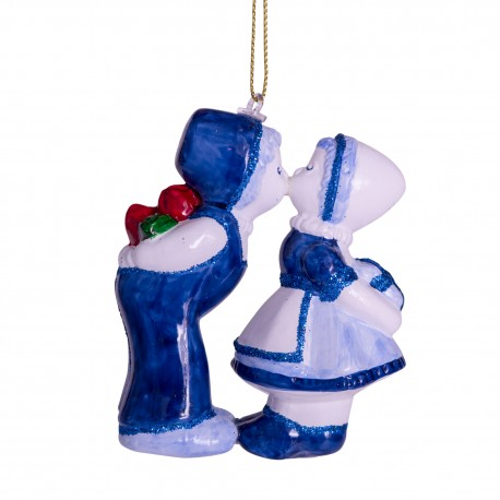 Kerstbal Delfts Blauw kussend paar