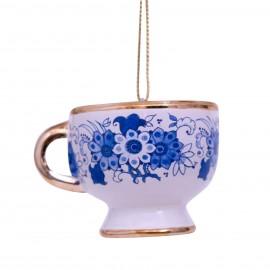 Kerstbal Delfts Blauwe Koffiekop