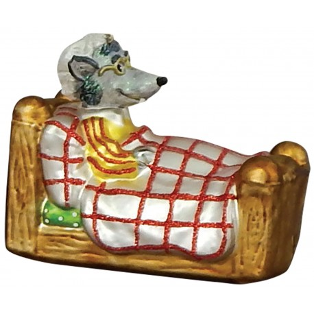 Kerstbal Boze Wolf in grootmoeders bed