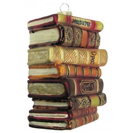 Kerstbal Stapel Antieke Boeken