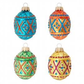 Set van 4 Retro Rhombus Ornamenten