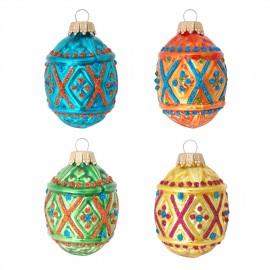 Set van 4 Retro Rhombus Ornamenten