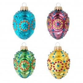 Set van 4 Retro Egg Ornamenten