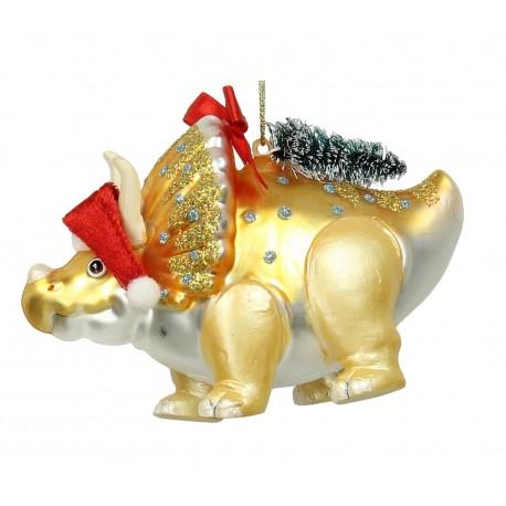 Kerstbal Triceratops goud
