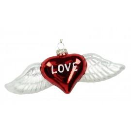 Kerstbal Hart met vleugels
