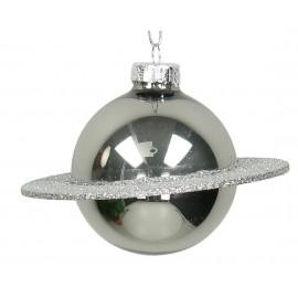 Kerstbal Planeet Zilver