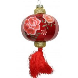 Kerstbal Chinese lantaarn met Grote Bloemen