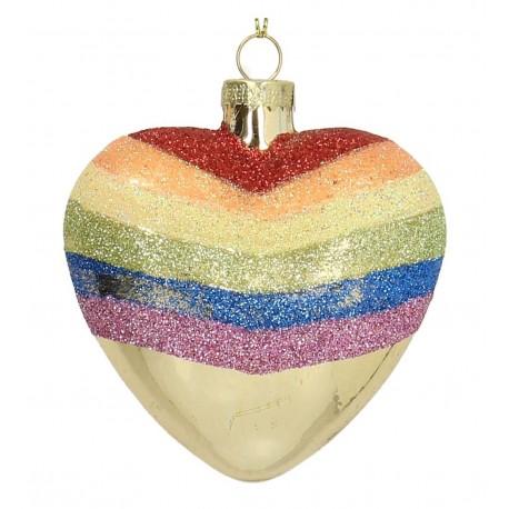 Kerstbal Regenboog Hart klein