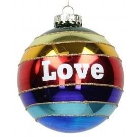 Kerstbal Regenboogbal Love