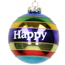 Kerstbal Regenboogbal Happy