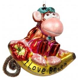 Kerstbal aap op Banaan