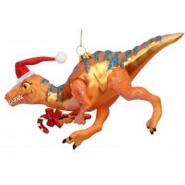 Kerstbal Velociraptor met muts