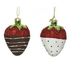 Set van 2 Kerstballen Aardbei met chocolade dip