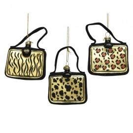 Set van 3  Kerstballen Handtassen met dierenprint