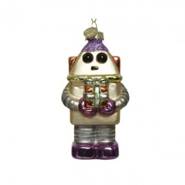 Kerstbal Robot met kadootjes