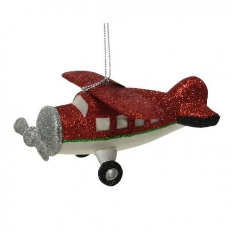 Kerstbal Vliegtuig met glitters