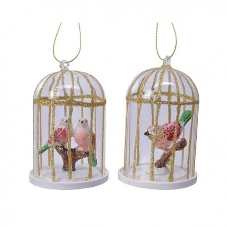Set van 2 Kerstballen Vogels in Kooi