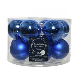 Set van 12 Glazen Kerstballen Blauw Glans-Mat Ø 5 CM
