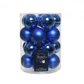 Set van 20 Glazen Kerstballen Blauw Glans-Mat Ø 6 CM