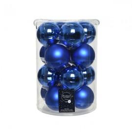 Set van 16 Glazen Kerstballen Blauw Glans-Mat Ø 8 CM
