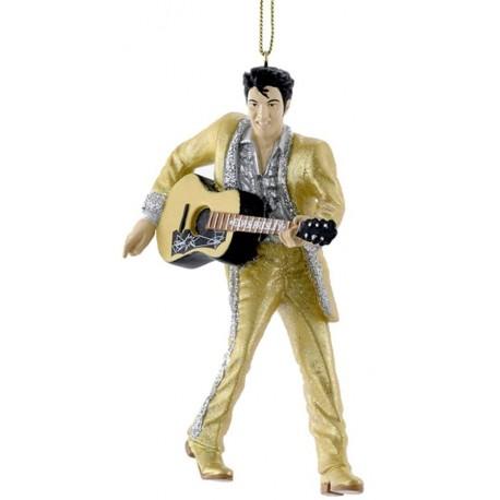 Kerstbal Elvis Presley Goud met Gitaar
