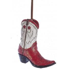Kerstbal Cowboylaars rood wit