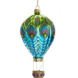 Kerstbal Heteluchtballon Pauw groen-blauw