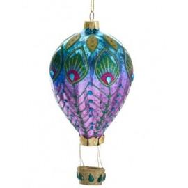 Kerstbal Heteluchtballon Pauw blauw-paars