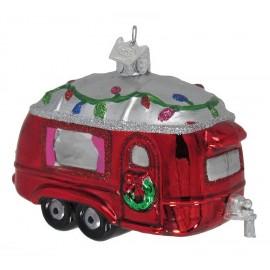 Kerstbal Caravan met Bloemetjes