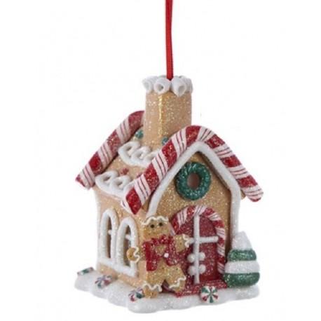 Kerstbal Peperkoek Huisje met Led Licht