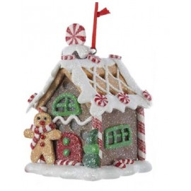 Kerstbal Peperkoek Huisje met Led Licht C