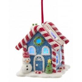 Kerstbal Peperkoek Huisje Sneeuwpop met Led Licht