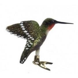 Glazen Kolibrie op Clip Groen-oranje